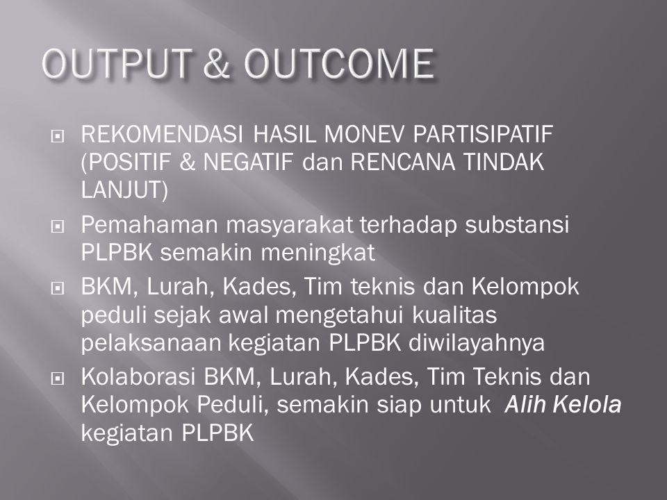  REKOMENDASI HASIL MONEV PARTISIPATIF (POSITIF & NEGATIF dan RENCANA TINDAK LANJUT)  Pemahaman masyarakat terhadap substansi PLPBK semakin meningkat