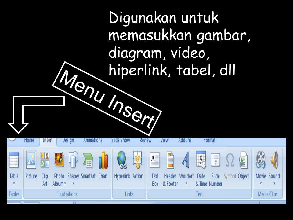 Menu Insert Digunakan untuk memasukkan gambar, diagram, video, hiperlink, tabel, dll