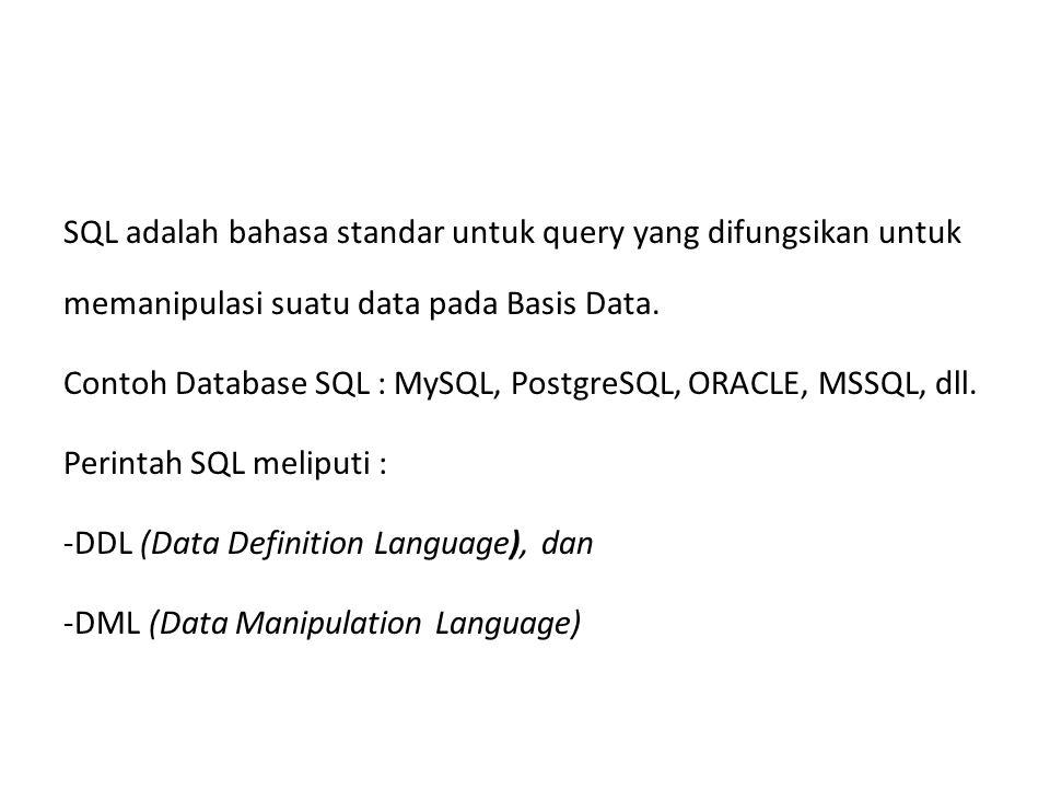 SQL adalah bahasa standar untuk query yang difungsikan untuk memanipulasi suatu data pada Basis Data.