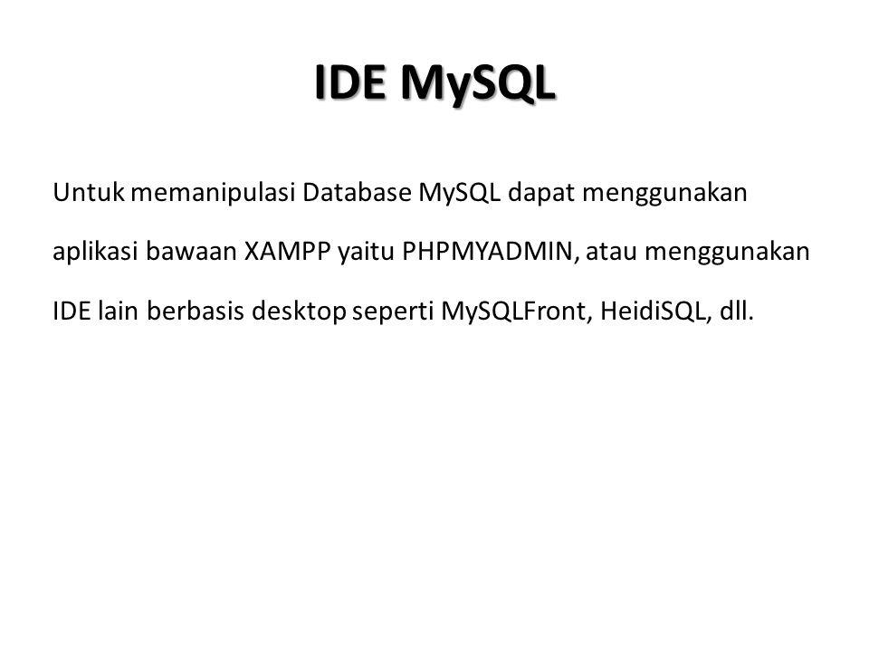 DDL (Data Definition Language) DDL (Data Definition Language) meliputi pembuatan Data Base ataupun pembuatan tabel.