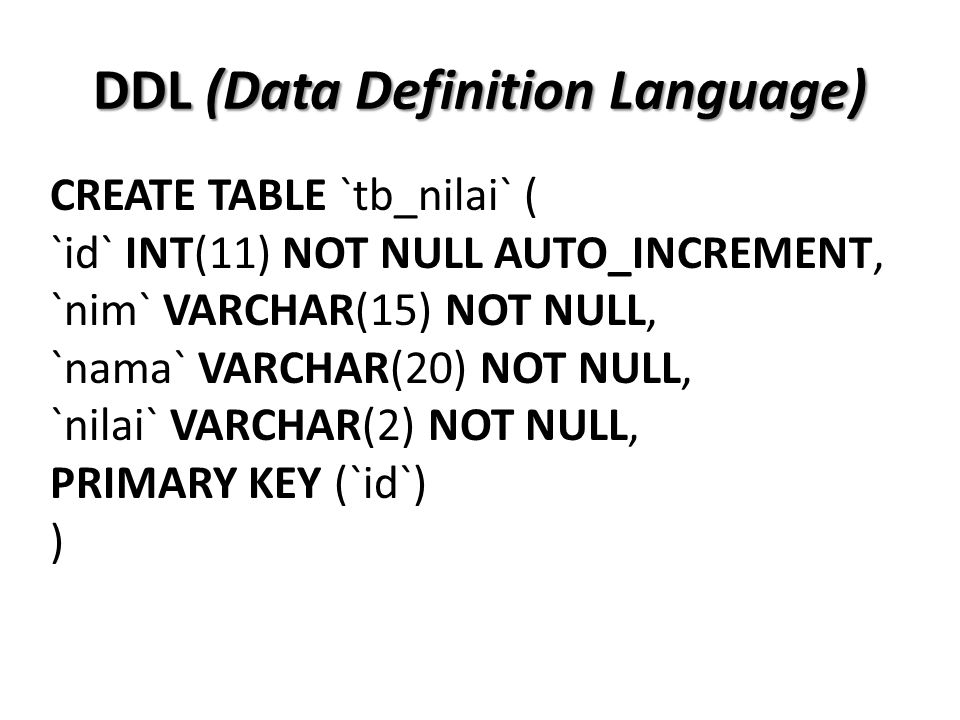 CREATE TABLE `tb_nilai` ( `id` INT(11) NOT NULL AUTO_INCREMENT, `nim` VARCHAR(15) NOT NULL, `nama` VARCHAR(20) NOT NULL, `nilai` VARCHAR(2) NOT NULL,