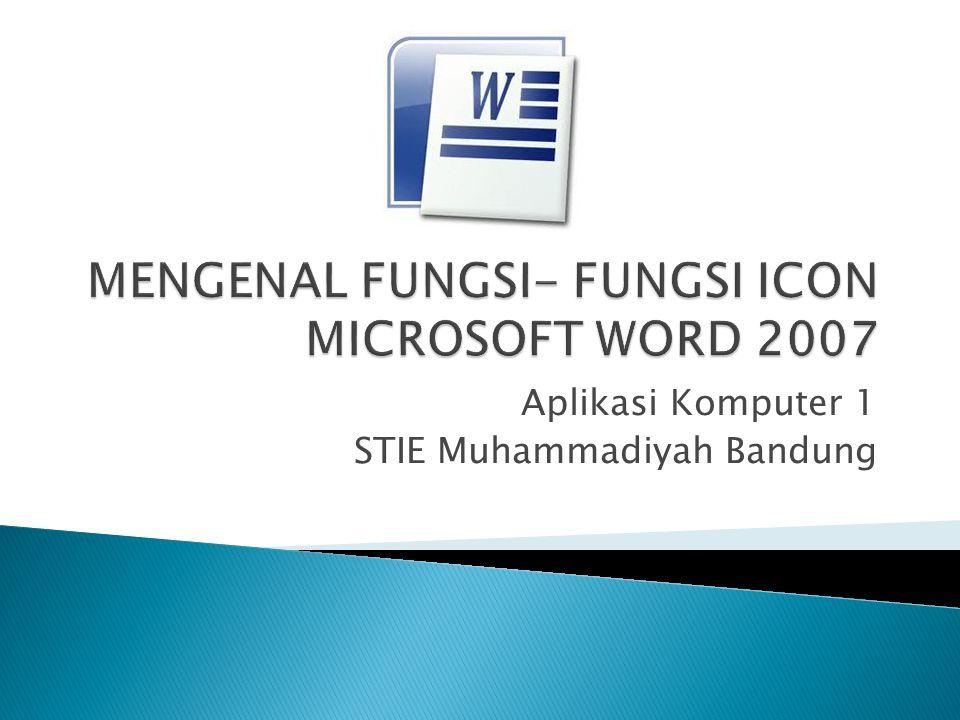 Aplikasi Komputer 1 STIE Muhammadiyah Bandung
