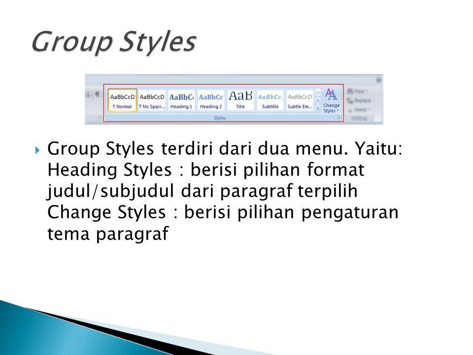  Group Styles terdiri dari dua menu. Yaitu: Heading Styles : berisi pilihan format judul/subjudul dari paragraf terpilih Change Styles : berisi pilih