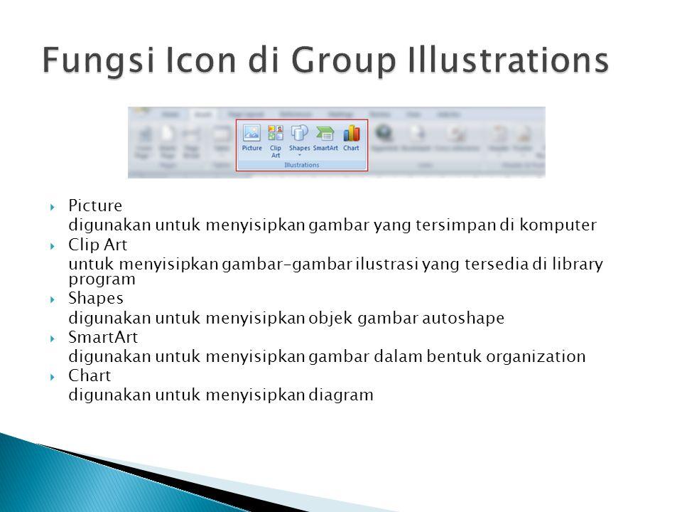  Picture digunakan untuk menyisipkan gambar yang tersimpan di komputer  Clip Art untuk menyisipkan gambar-gambar ilustrasi yang tersedia di library