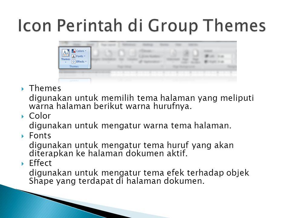  Themes digunakan untuk memilih tema halaman yang meliputi warna halaman berikut warna hurufnya.  Color digunakan untuk mengatur warna tema halaman.