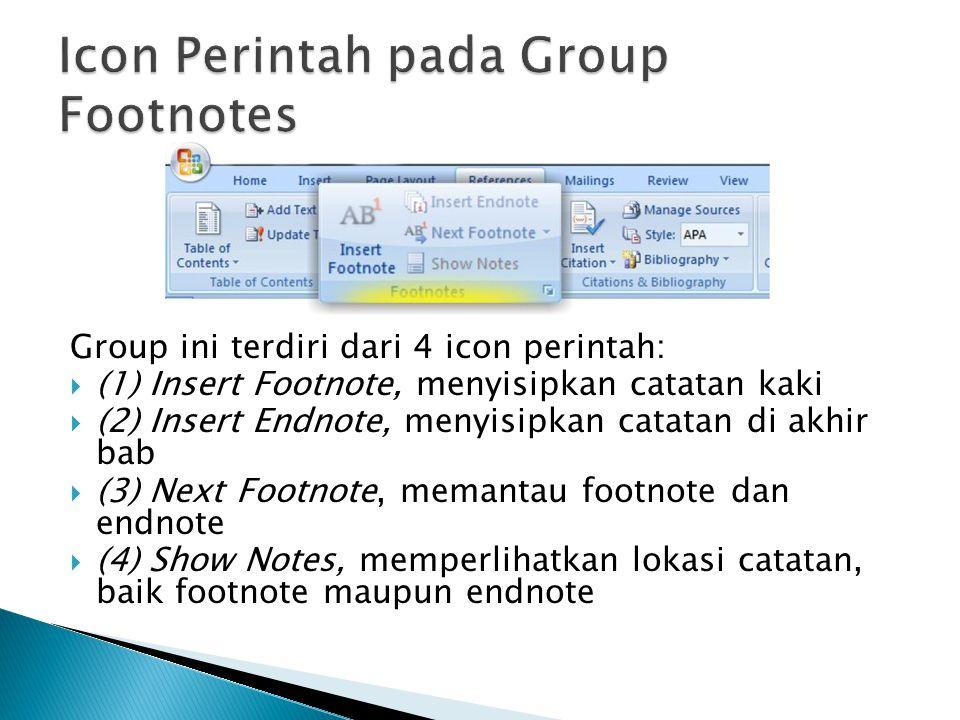 Group ini terdiri dari 4 icon perintah:  (1) Insert Footnote, menyisipkan catatan kaki  (2) Insert Endnote, menyisipkan catatan di akhir bab  (3) N