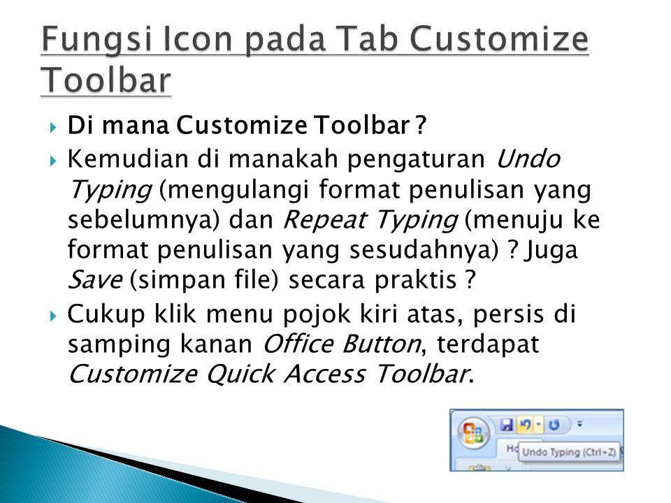  Di mana Customize Toolbar ?  Kemudian di manakah pengaturan Undo Typing (mengulangi format penulisan yang sebelumnya) dan Repeat Typing (menuju ke