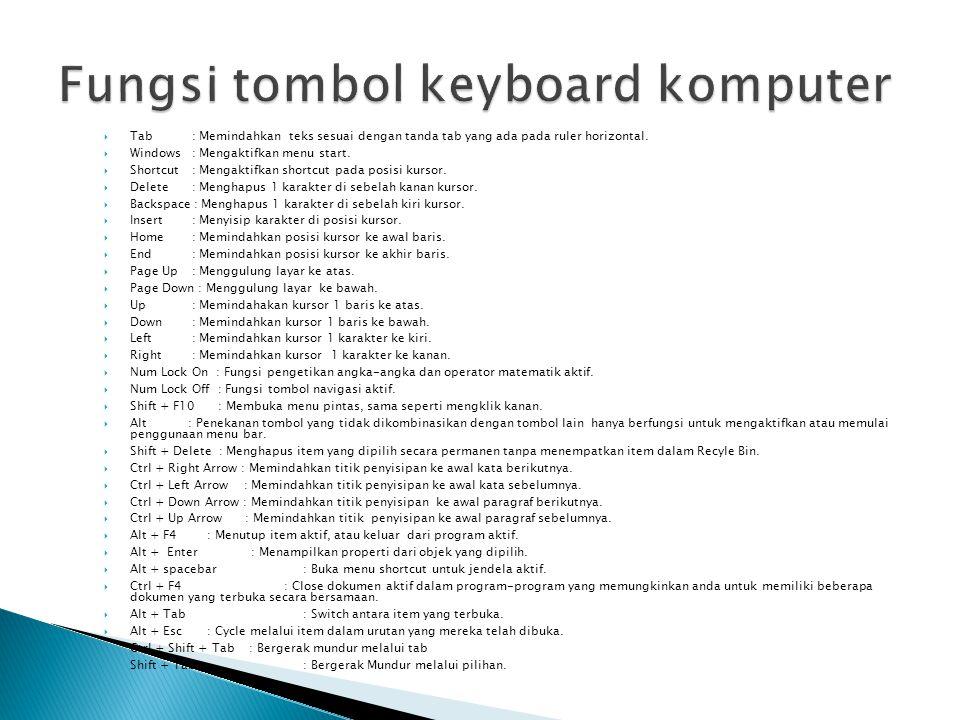  Tab : Memindahkan teks sesuai dengan tanda tab yang ada pada ruler horizontal.  Windows : Mengaktifkan menu start.  Shortcut : Mengaktifkan shortc