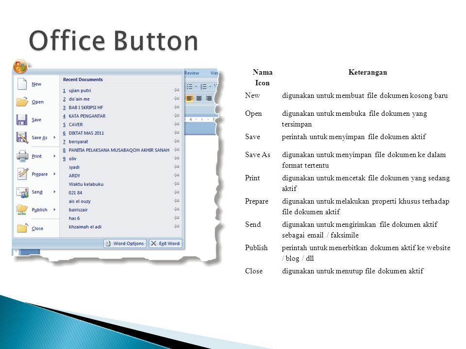 Nama Icon Keterangan Newdigunakan untuk membuat file dokumen kosong baru Open digunakan untuk membuka file dokumen yang tersimpan Saveperintah untuk m