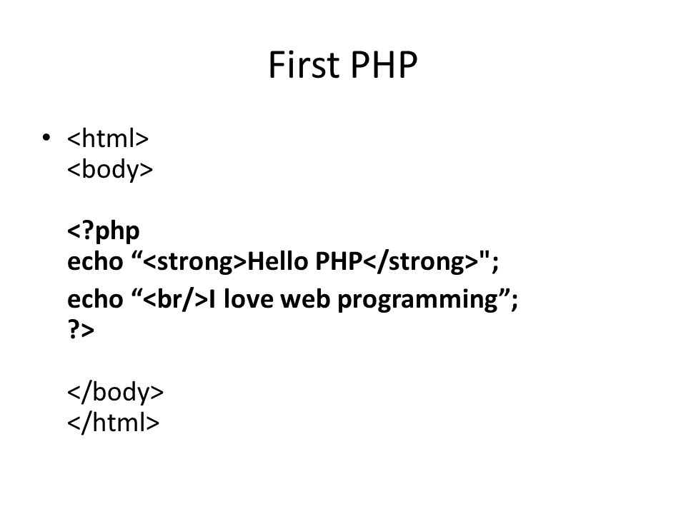 First PHP Hello PHP ; echo I love web programming ; ?>