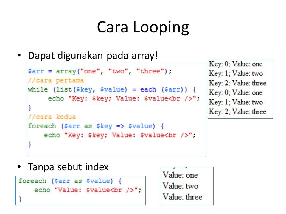 Cara Looping Dapat digunakan pada array! Tanpa sebut index