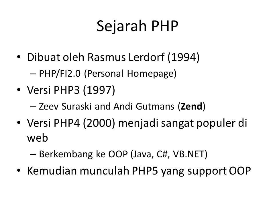 Sejarah PHP Dibuat oleh Rasmus Lerdorf (1994) – PHP/FI2.0 (Personal Homepage) Versi PHP3 (1997) – Zeev Suraski and Andi Gutmans (Zend) Versi PHP4 (200