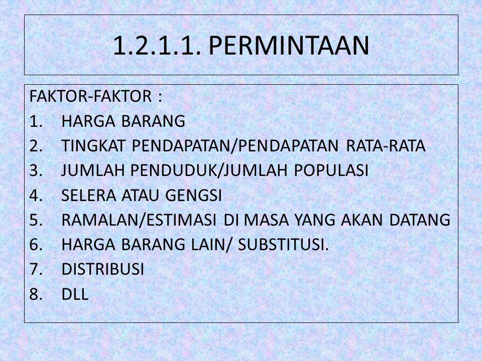 1.2.1.1. PERMINTAAN FAKTOR-FAKTOR : 1.HARGA BARANG 2.TINGKAT PENDAPATAN/PENDAPATAN RATA-RATA 3.JUMLAH PENDUDUK/JUMLAH POPULASI 4.SELERA ATAU GENGSI 5.