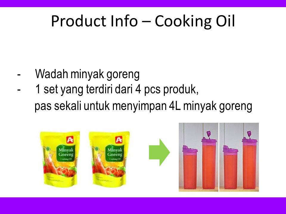 Product Info – Cooking Oil -Wadah minyak goreng -1 set yang terdiri dari 4 pcs produk, pas sekali untuk menyimpan 4L minyak goreng