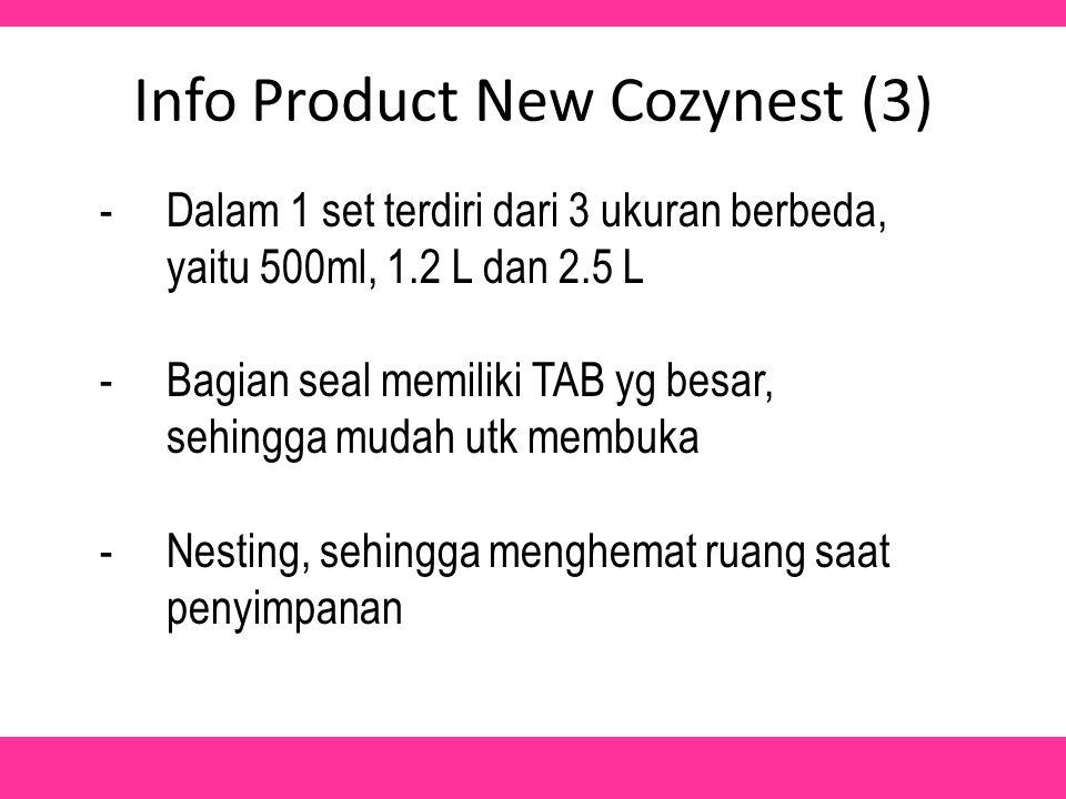 Info Product New Cozynest (3) -Dalam 1 set terdiri dari 3 ukuran berbeda, yaitu 500ml, 1.2 L dan 2.5 L -Bagian seal memiliki TAB yg besar, sehingga mudah utk membuka -Nesting, sehingga menghemat ruang saat penyimpanan