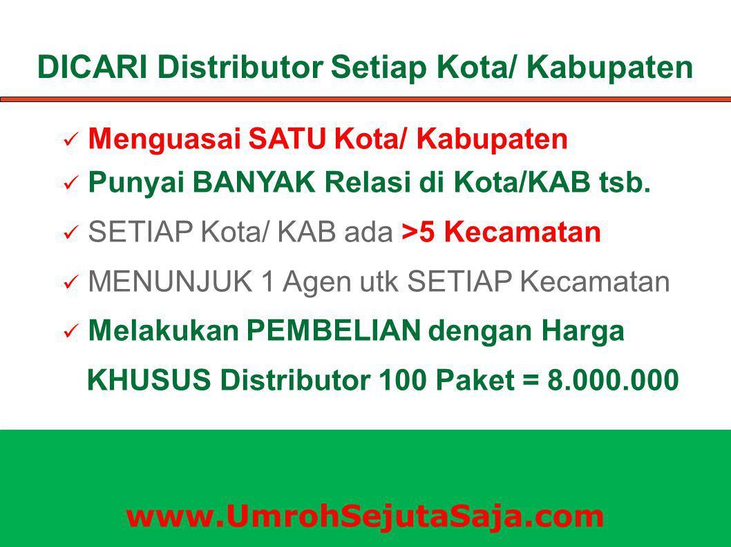 DICARI Distributor Setiap Kota/ Kabupaten Menguasai SATU Kota/ Kabupaten Punyai BANYAK Relasi di Kota/KAB tsb. SETIAP Kota/ KAB ada >5 Kecamatan MENUN