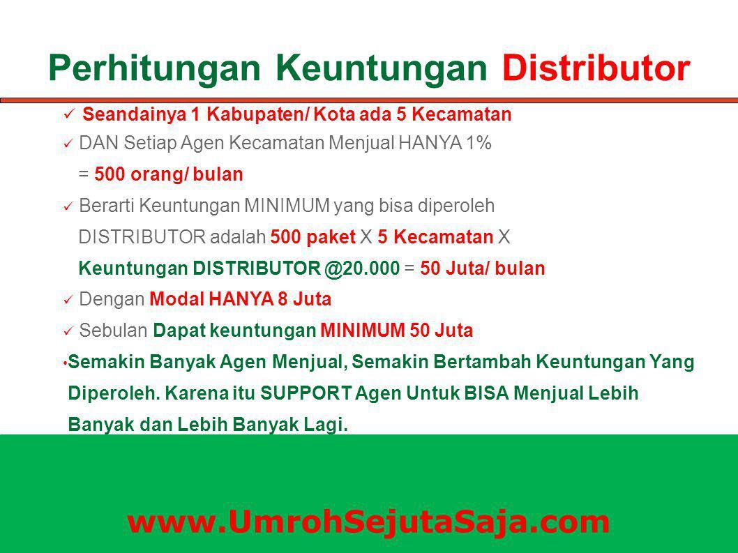 Perhitungan Keuntungan Distributor Seandainya 1 Kabupaten/ Kota ada 5 Kecamatan DAN Setiap Agen Kecamatan Menjual HANYA 1% = 500 orang/ bulan Berarti