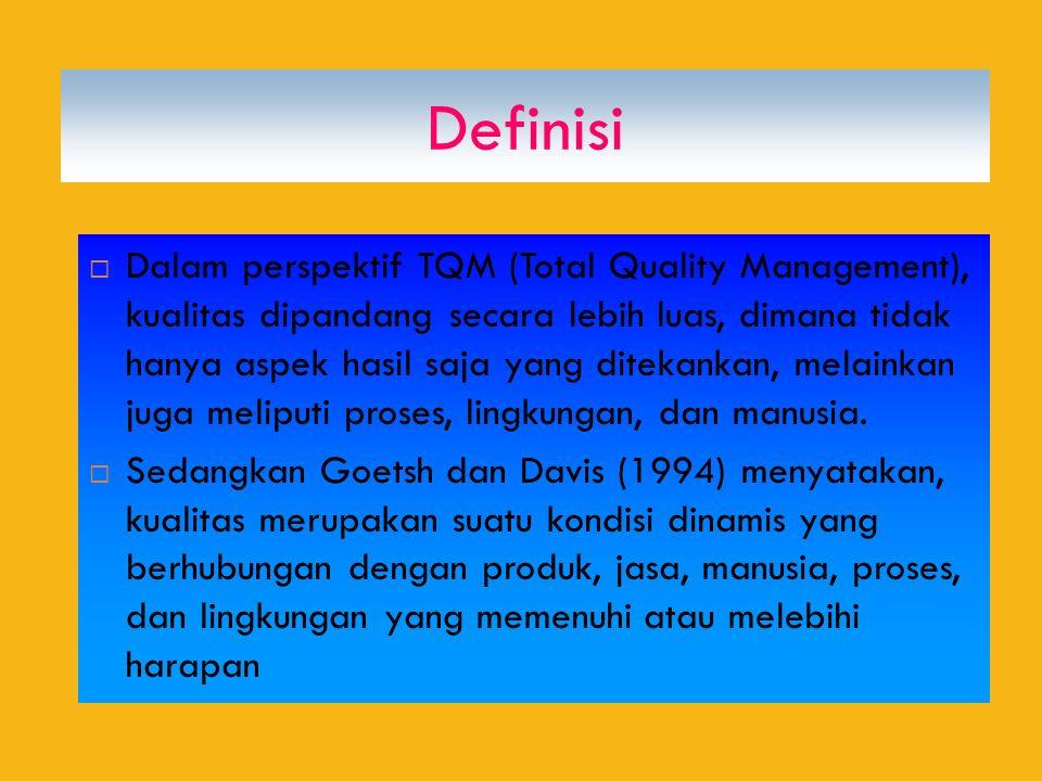Definisi  Dalam perspektif TQM (Total Quality Management), kualitas dipandang secara lebih luas, dimana tidak hanya aspek hasil saja yang ditekankan, melainkan juga meliputi proses, lingkungan, dan manusia.
