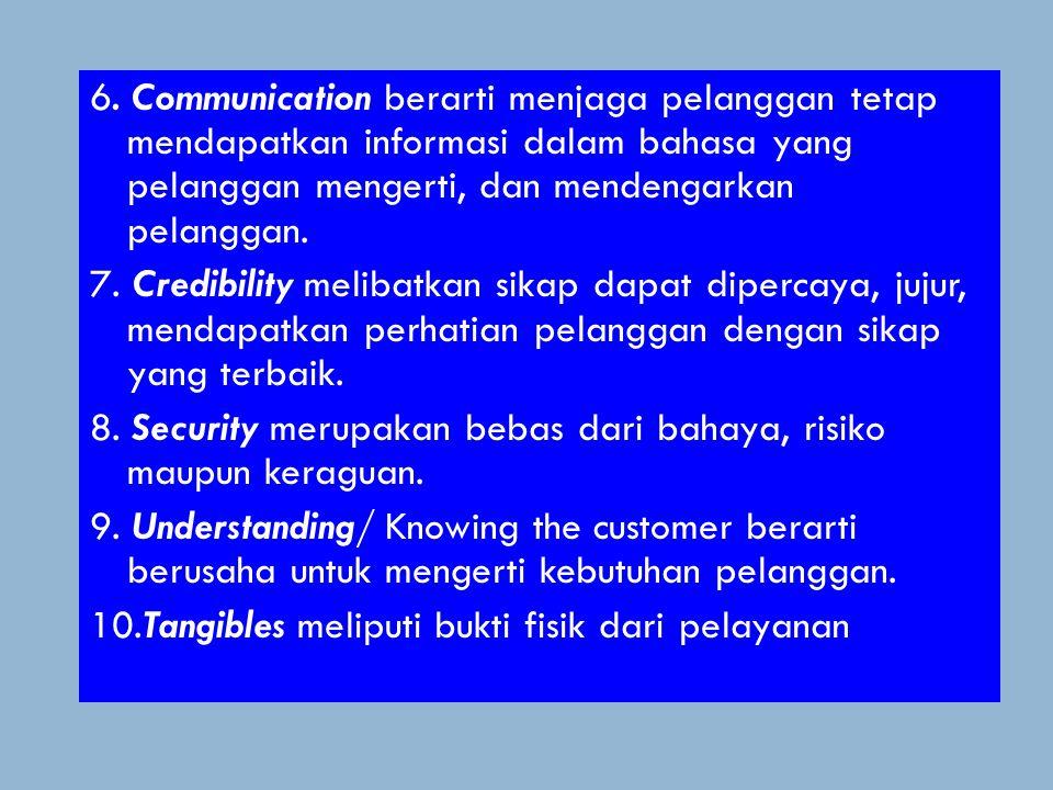 Apa Dimensi Kualitas? 1. Reliability mencakup dua hal pokok, yaitu konsistensi kinerja dan kehandalan. 2. Responsiveness berfokus pada sikap kesediaan