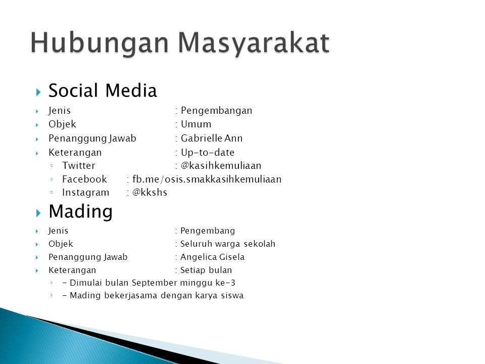  Social Media  Jenis: Pengembangan  Objek: Umum  Penanggung Jawab: Gabrielle Ann  Keterangan: Up-to-date ◦ Twitter: @kasihkemuliaan ◦ Facebook :