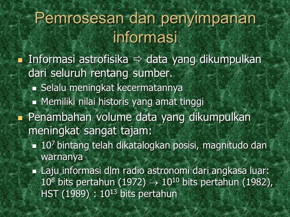 Pemrosesan dan penyimpanan informasi Informasi astrofisika  data yang dikumpulkan dari seluruh rentang sumber.