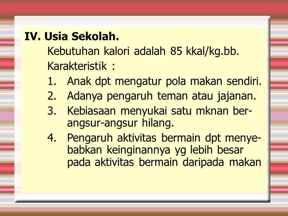 IV.Usia Sekolah. Kebutuhan kalori adalah 85 kkal/kg.bb.