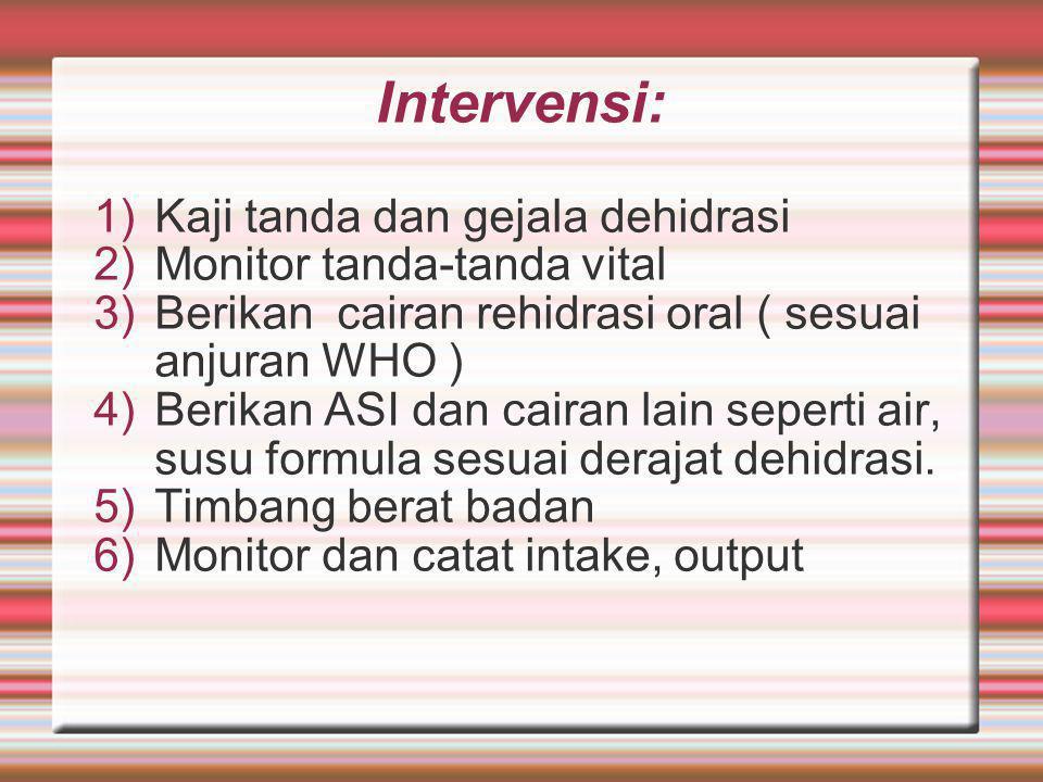 Intervensi: 1)Kaji tanda dan gejala dehidrasi 2)Monitor tanda-tanda vital 3)Berikan cairan rehidrasi oral ( sesuai anjuran WHO ) 4)Berikan ASI dan cairan lain seperti air, susu formula sesuai derajat dehidrasi.