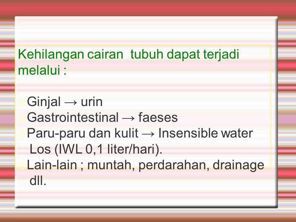 Kehilangan cairan tubuh dapat terjadi melalui :  Ginjal → urin  Gastrointestinal → faeses  Paru-paru dan kulit → Insensible water Los (IWL 0,1 liter/hari).