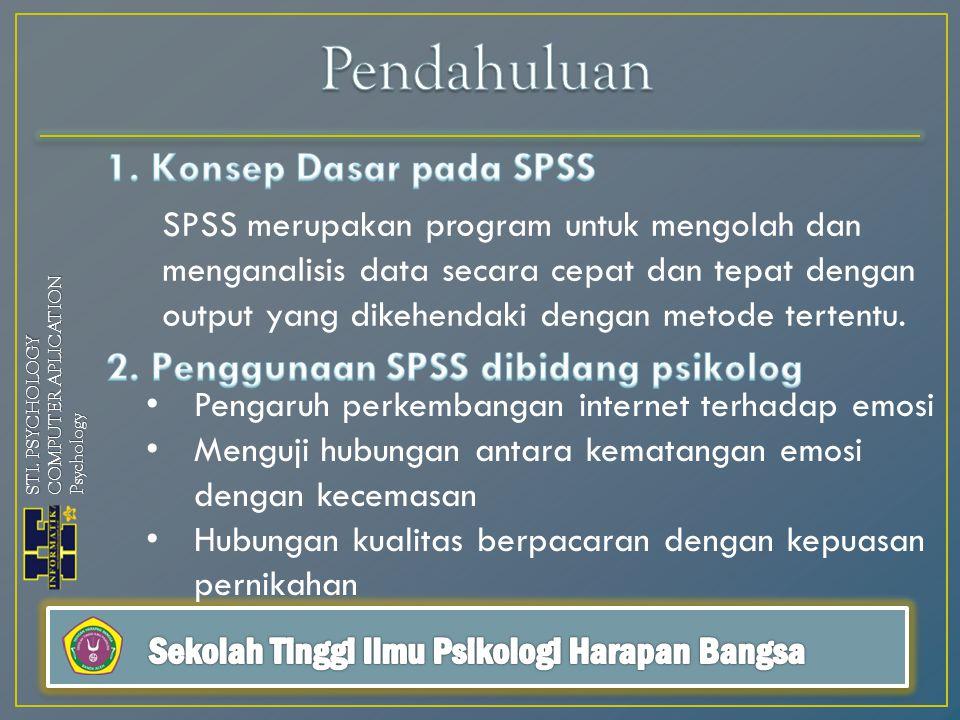 STI. PSYCHOLOGY COMPUTER APLICATION Psychology SPSS merupakan program untuk mengolah dan menganalisis data secara cepat dan tepat dengan output yang d