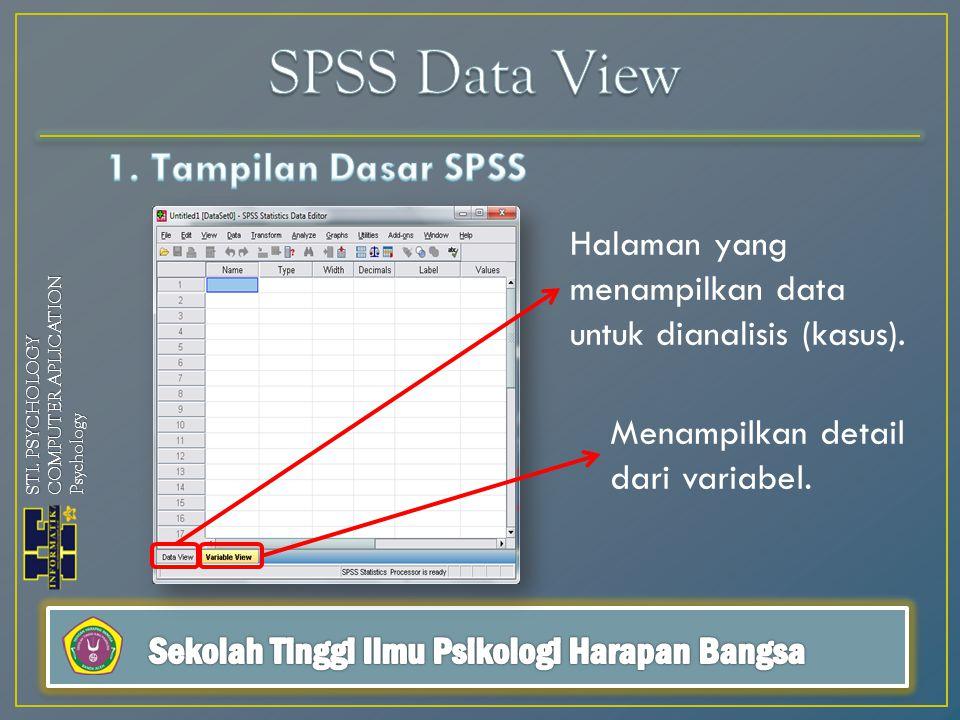 Halaman yang menampilkan data untuk dianalisis (kasus). Menampilkan detail dari variabel. STI. PSYCHOLOGY COMPUTER APLICATION Psychology