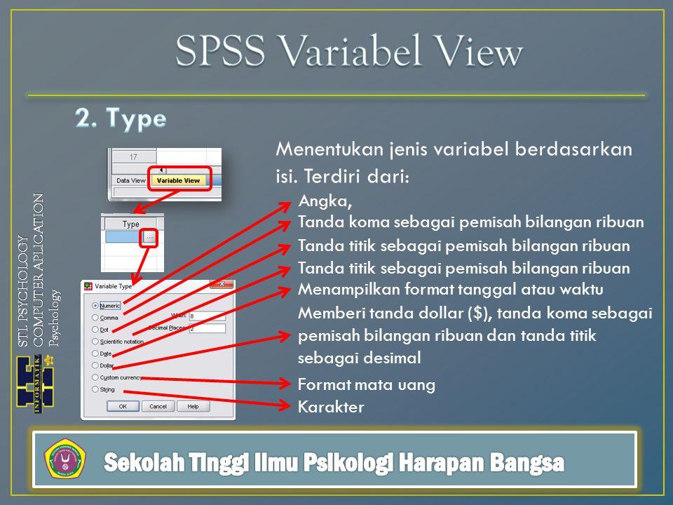Menentukan jenis variabel berdasarkan isi.