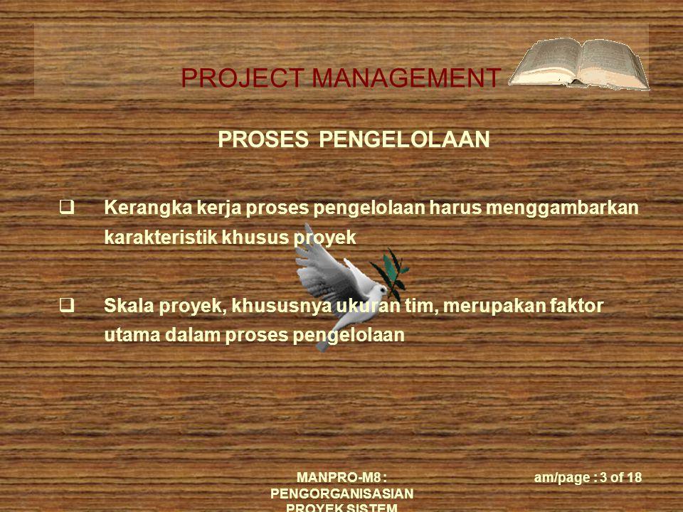 PROJECT MANAGEMENT MANPRO-M8 : PENGORGANISASIAN PROYEK SISTEM am/page : 3 of 18  Kerangka kerja proses pengelolaan harus menggambarkan karakteristik khusus proyek  Skala proyek, khususnya ukuran tim, merupakan faktor utama dalam proses pengelolaan PROSES PENGELOLAAN
