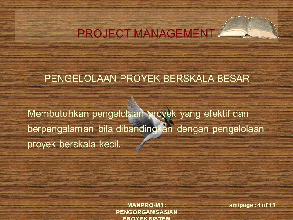 PROJECT MANAGEMENT MANPRO-M8 : PENGORGANISASIAN PROYEK SISTEM am/page : 15 of 18 PROYEK UKURAN SEDANG (25 ORANG)  Memerlukan moderat pengelolaan  Memerlukan manajer proyek untuk sinkronisasi tim dan sumber daya  Kinerja proyek tergantung pada individu-individu kunci dalam tim tersebut, khususnya tim leader