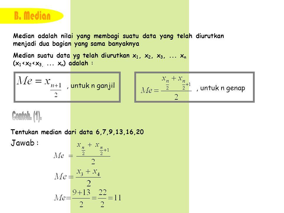 Median adalah nilai yang membagi suatu data yang telah diurutkan menjadi dua bagian yang sama banyaknya Median suatu data yg telah diurutkan x 1, x 2,