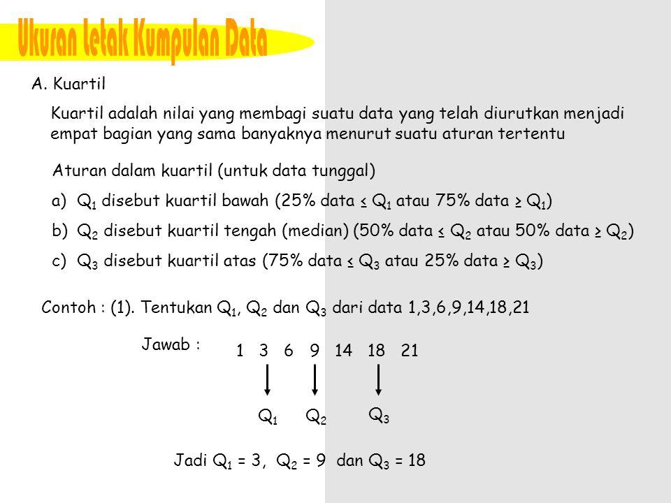 A. Kuartil Kuartil adalah nilai yang membagi suatu data yang telah diurutkan menjadi empat bagian yang sama banyaknya menurut suatu aturan tertentu At
