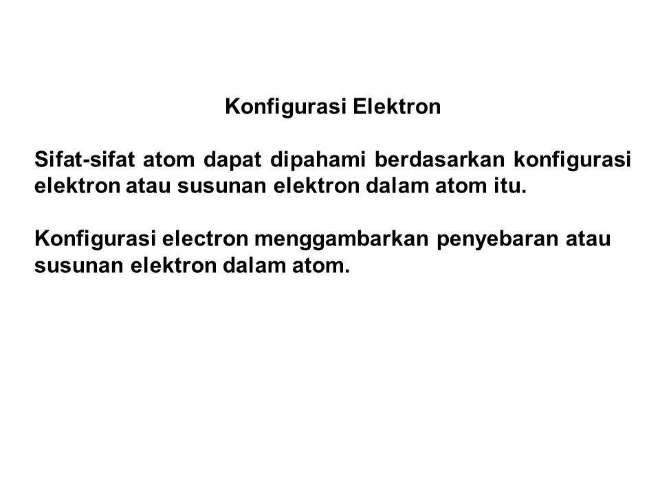 Konfigurasi Elektron Sifat-sifat atom dapat dipahami berdasarkan konfigurasi elektron atau susunan elektron dalam atom itu. Konfigurasi electron mengg
