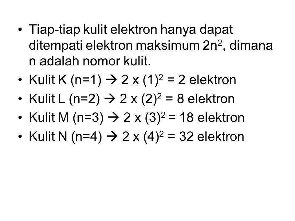 Tiap-tiap kulit elektron hanya dapat ditempati elektron maksimum 2n 2, dimana n adalah nomor kulit. Kulit K (n=1)  2 x (1) 2 = 2 elektron Kulit L (n=