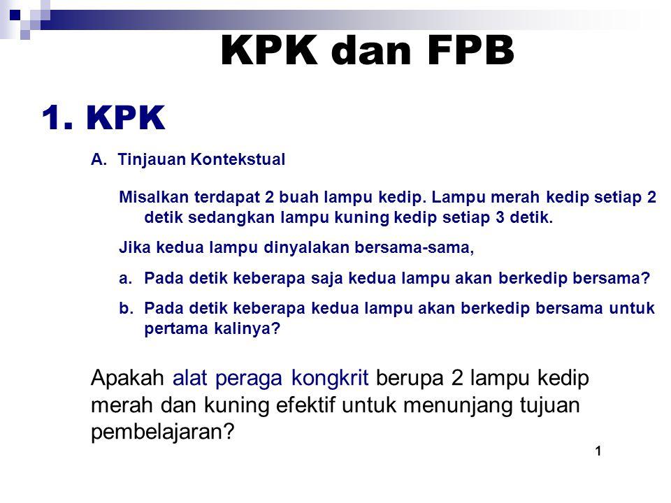 KPK dan FPB 1.KPK A. Tinjauan Kontekstual Misalkan terdapat 2 buah lampu kedip.