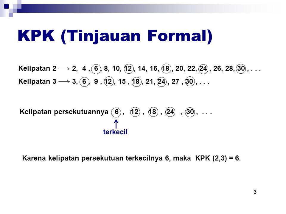 KPK (Tinjauan Formal) Kelipatan 2 2, 4, 6, 8, 10, 12, 14, 16, 18, 20, 22, 24, 26, 28, 30,...