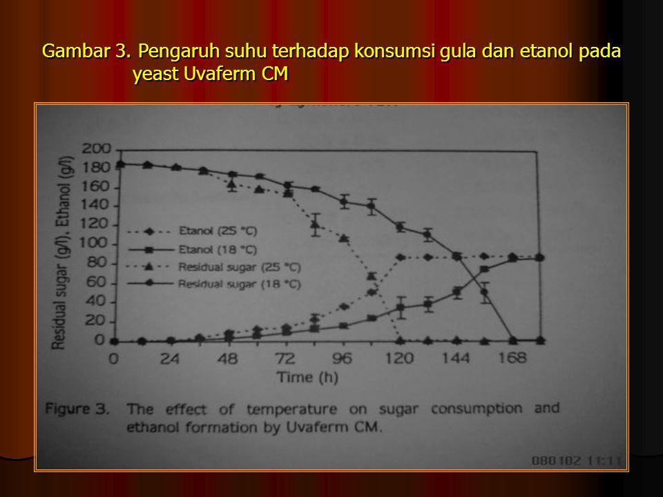 Gambar 3. Pengaruh suhu terhadap konsumsi gula dan etanol pada yeast Uvaferm CM