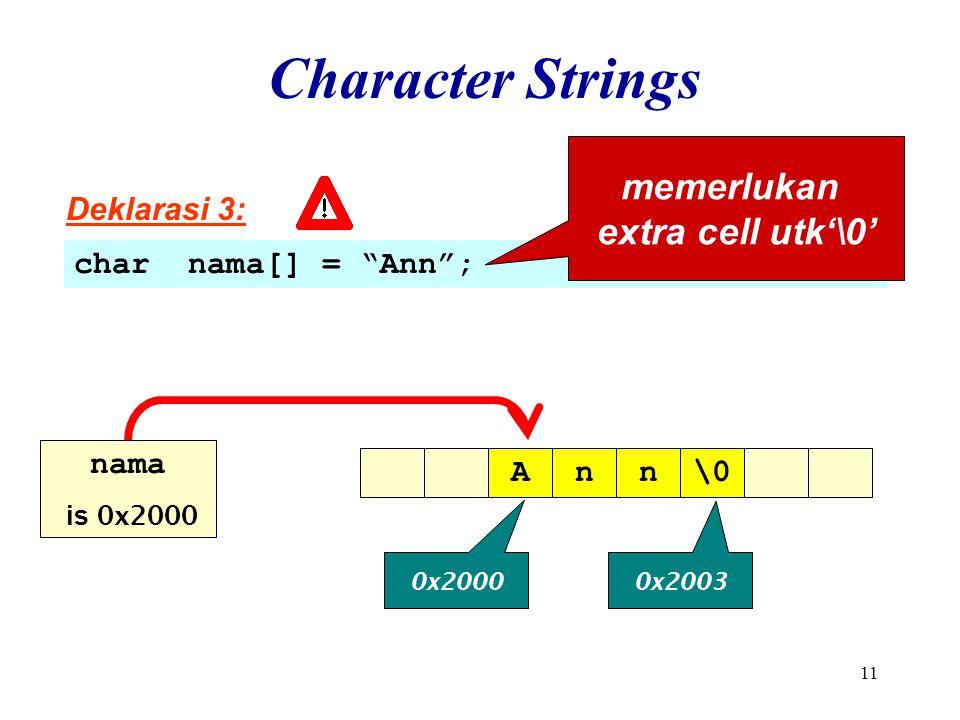 11 Character Strings Deklarasi 3: char nama[] = Ann ; memerlukan extra cell utk'\0' Ann\0 0x2000 0x2003 nama is 0x2000