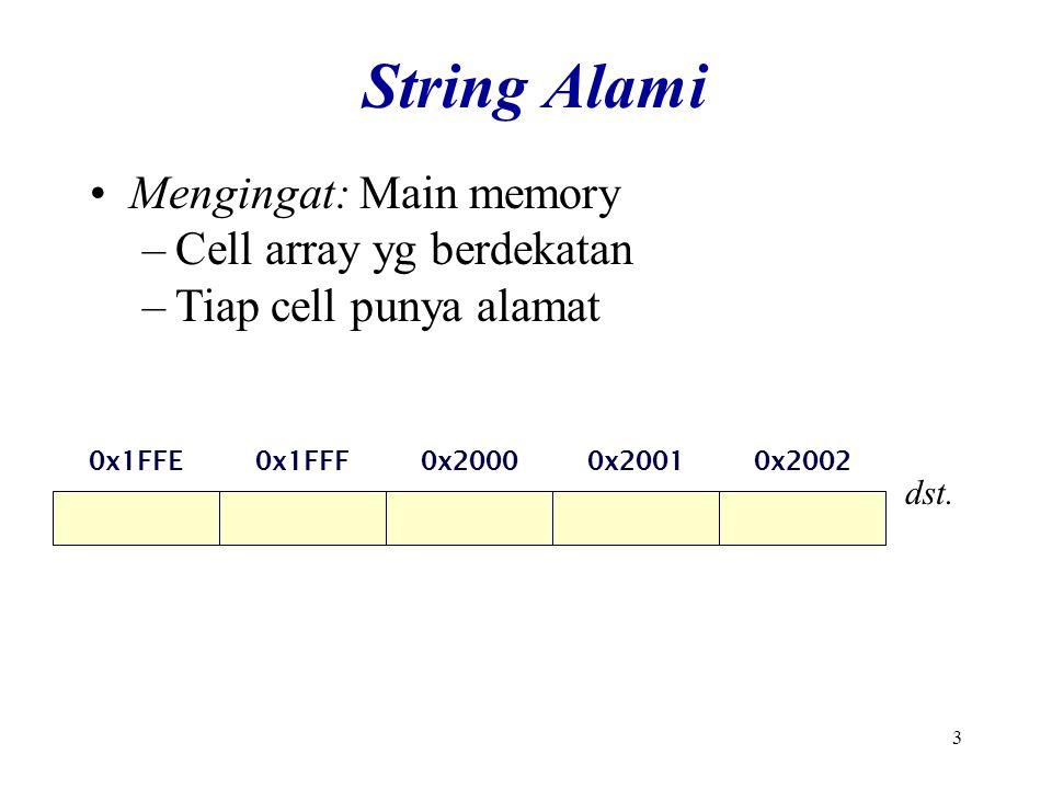3 String Alami Mengingat: Main memory –Cell array yg berdekatan –Tiap cell punya alamat 0x1FFF0x20000x20010x20020x1FFE dst.