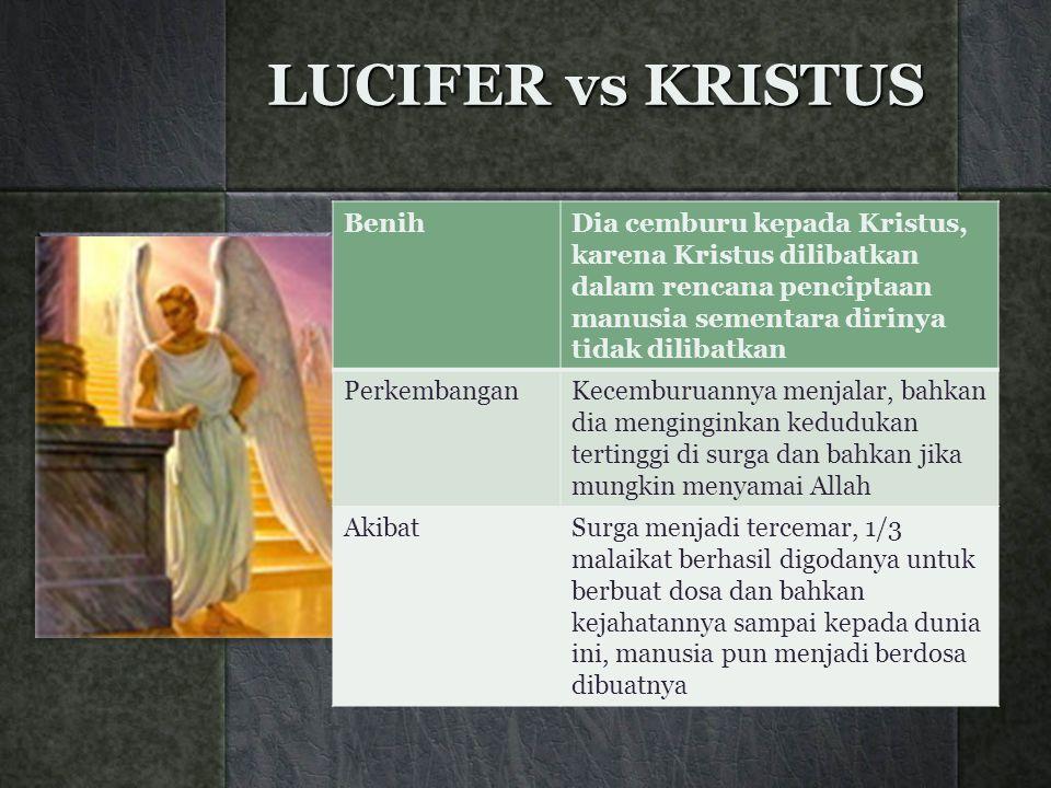LUCIFER vs KRISTUS BenihDia cemburu kepada Kristus, karena Kristus dilibatkan dalam rencana penciptaan manusia sementara dirinya tidak dilibatkan Perk