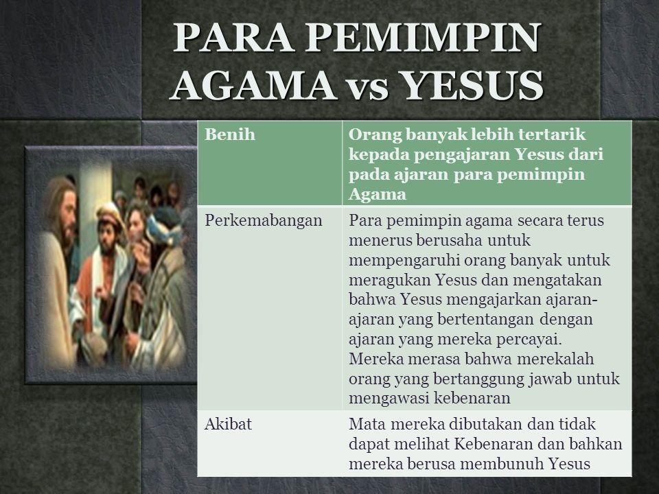 PARA PEMIMPIN AGAMA vs YESUS BenihOrang banyak lebih tertarik kepada pengajaran Yesus dari pada ajaran para pemimpin Agama PerkemabanganPara pemimpin