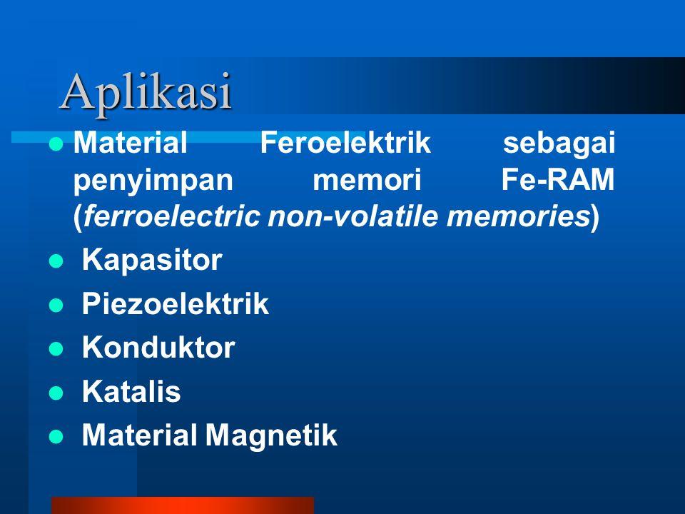 Aplikasi Material Feroelektrik sebagai penyimpan memori Fe-RAM (ferroelectric non-volatile memories) Kapasitor Piezoelektrik Konduktor Katalis Material Magnetik