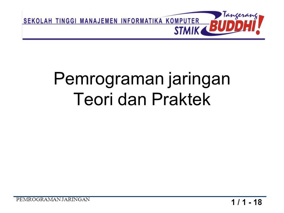 PEMROGRAMAN JARINGAN Pemrograman jaringan Teori dan Praktek 1 / 1 - 18