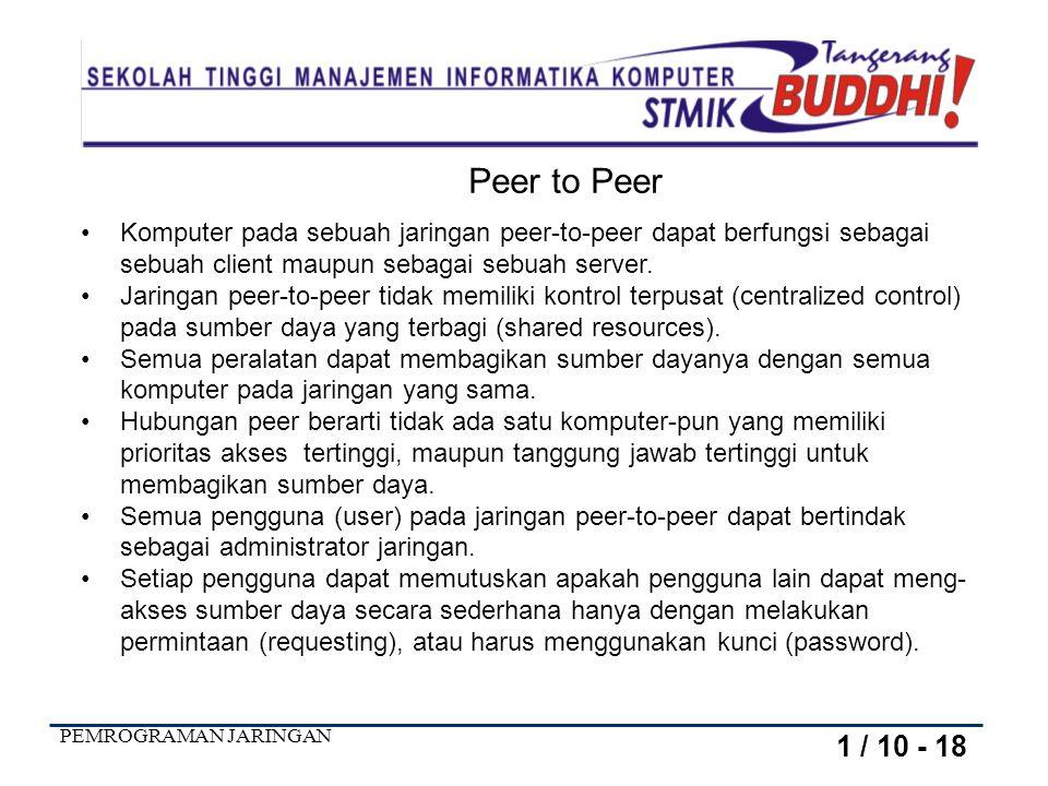 PEMROGRAMAN JARINGAN Peer to Peer Komputer pada sebuah jaringan peer-to-peer dapat berfungsi sebagai sebuah client maupun sebagai sebuah server.