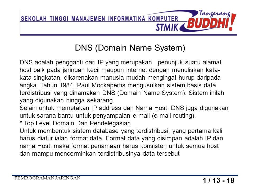 PEMROGRAMAN JARINGAN DNS adalah pengganti dari IP yang merupakan penunjuk suatu alamat host baik pada jaringan kecil maupun internet dengan menuliskan kata- kata singkatan, dikarenakan manusia mudah mengingat hurup daripada angka.