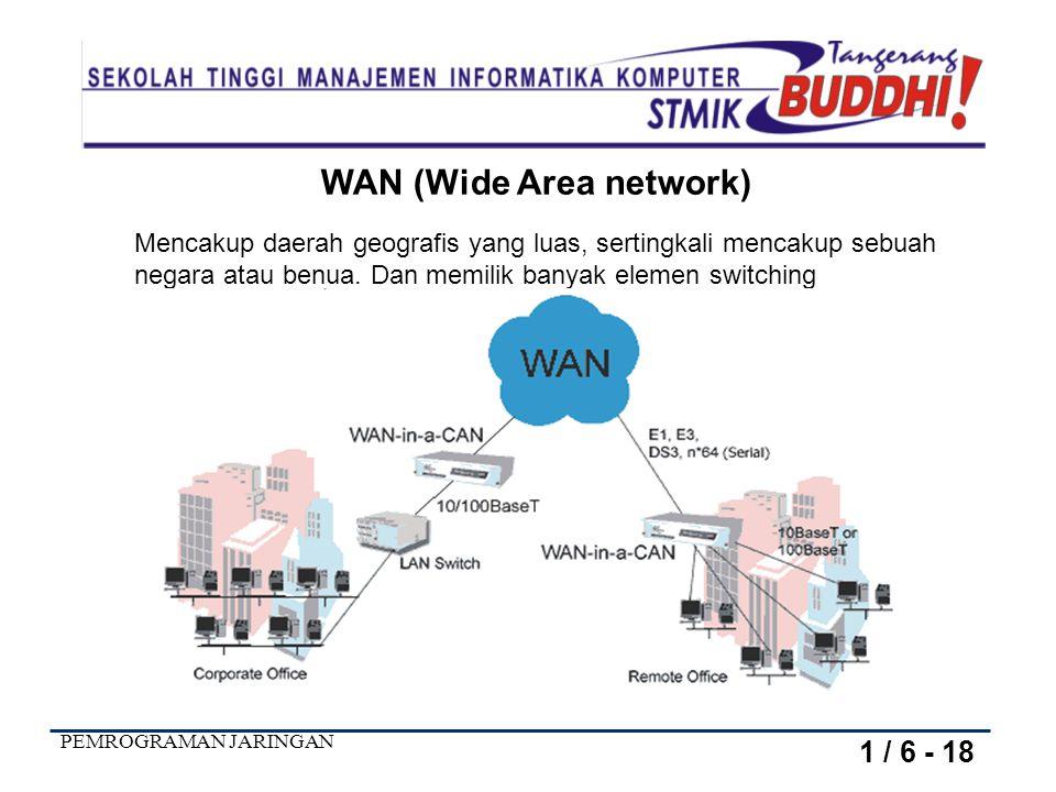 PEMROGRAMAN JARINGAN WAN (Wide Area network) Mencakup daerah geografis yang luas, sertingkali mencakup sebuah negara atau benua.