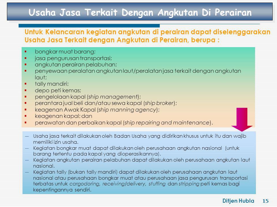 Usaha Jasa Terkait Dengan Angkutan Di Perairan  bongkar muat barang;  jasa pengurusan transportasi;  angkutan perairan pelabuhan;  penyewaan peral